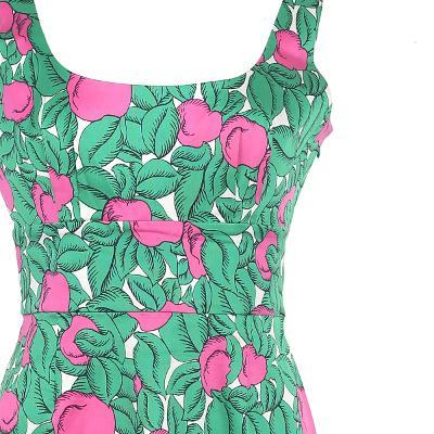 unique flower pattern square neck dress